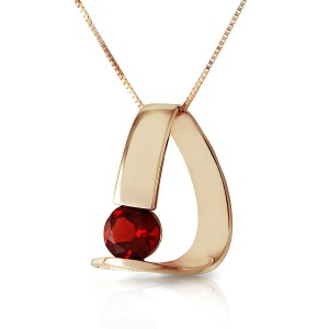 14K Solid Gold Modern Necklace with Natural Garnet