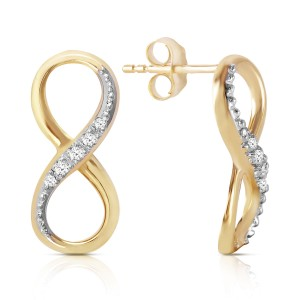 14K Solid Gold Infiniti Earrings with Natural Diamonds