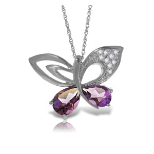 14K Solid White Gold Batterfly Necklace with Natural Diamonds & Amethysts