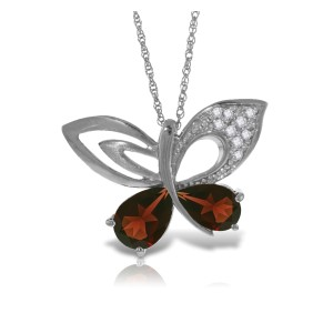 14K Solid White Gold Batterfly Necklace withNatural Diamonds & Garnets