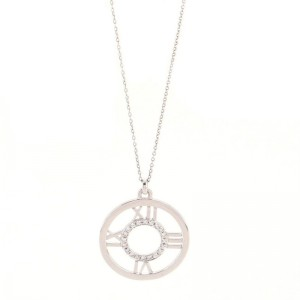 Tiffany & Co. Atlas Circle Pendant Necklace 18K White Gold with Diamonds Medium .25CT