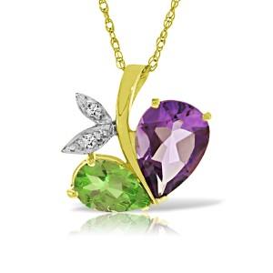 14K Solid Gold Modern Heart Necklace Combination Of Amethyst, Peridot & Diamond