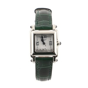 Chopard Happy Sport Square Quartz Watch Stainless Steel with Diamonds and Alligator 23