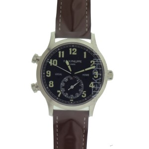 Patek Philippe Calatrava Pilot Travel Time 5524G-001 18K White Gold Mens Watch