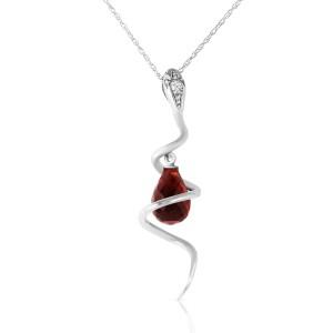 14K Solid White Gold Snake Necklace withDangling Briolette Garnet & Diamond