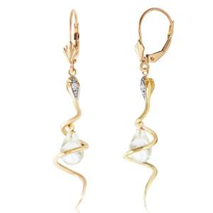 14K Solid Gold Snake Earrings with Dangling Briolette White Topaz & Diamonds