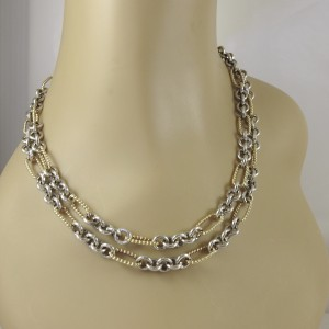 "David Yurman Sterling Silver 18K Yellow Gold 36"" Figaro Chain Necklace with Gold Links"