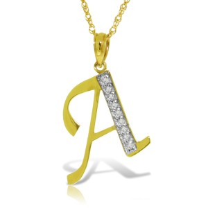 14K Solid Gold Necklace with Natural Diamonds Initial 'a' Pendant