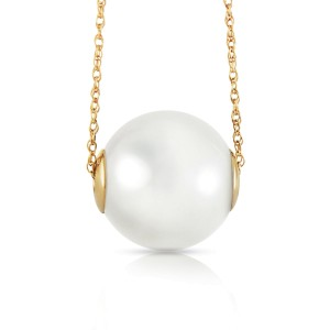 14K Solid Gold Necklace with 16.0 mm White Shell Cultured Pearl