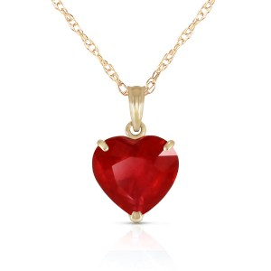 14K Solid Gold Necklace with Natural 10mm Heart Ruby