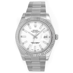 Rolex Datejust II 116334 Stainless Steel White Stick Dial 41mm Mens Watch