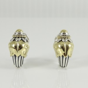 Lagos Sterling Silver 18K Yellow Gold Vintage Arcadian Torch Earrings
