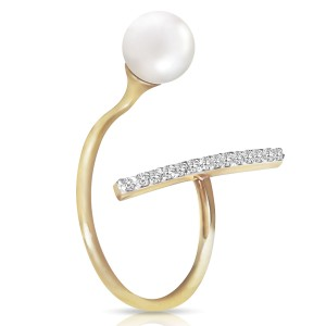 14K Solid Gold Ring with Natural Diamonds & Cultured Pearl