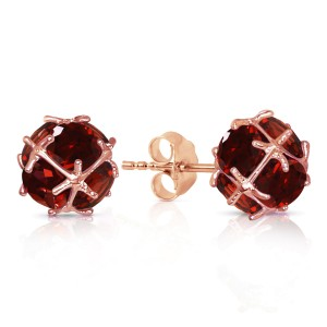 14K Solid Rose Gold Stud Earrings with Natural Garnets