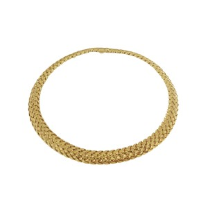 Tiffany & Co. 18k Yellow Gold Vannerie Basket Weave Choker Necklace