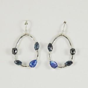 Ippolita Sterling Silver Rock Candy Gelato Semi Precious Multi Stone Oval Drop Hoop Earrings