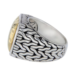 John Hardy Sterling Silver & 22K Yellow Gold Classic Chain Mens Ring Size 11
