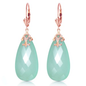14K Solid Rose Gold Leverback Earrings with Briolette 31x16 mm Mint Green Chalcedony