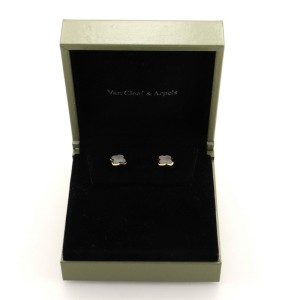Van Cleef & Arpels Pure Alhambra Stud Earrings 18 K Yellow Gold and Mother-of-pearl