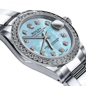 Deposit for Rolex Baby Blue Pearl 26mm Datejust SS Oyster Bracelet & Authentic Diamond Bezel, Full Price is $5749
