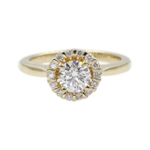 14K Yellow Gold with 0.70ct Round Cut Diamond Floral Halo Engagement Ring Size 6