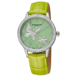 Stuhrling Verona Mariposa 518.1115L88 Stainless Steel & Leather 34mm Watch