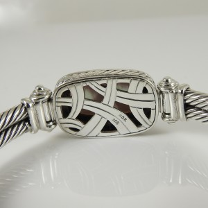 David Yurman Sterling Silver .48tcw 2-Row Pink Mother of Pearl Diamond Albion Bracelet