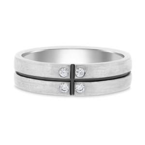 14K White Gold 0.13ct. Diamond Black Enamel Matte Finish Band Ring Size 10