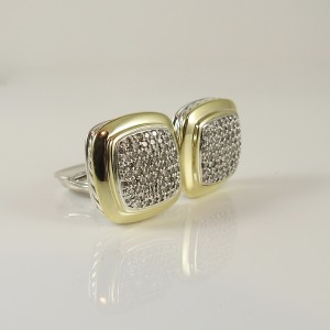 David Yurman Albion 925 Sterling Silver & 18K Yellow Gold with 2.25tcw Diamond Earrings