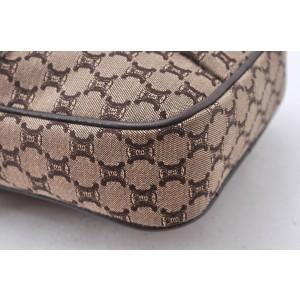 CELINE Macadam Pattern Shoulder Bag Canvas Leather Brown