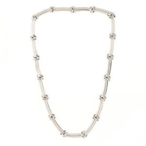 Tiffany & Co. Vintage Love Knot Groove Link Choker Necklace 18K White Gold