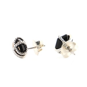 David Yurman Cable Wrap Stud Earrings Sterling Silver with Onyx and Diamonds 10mm