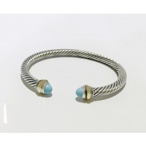 David Yurman Classic Cable Bracelet With Turquoise and 14K Gold