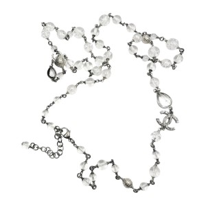 Chanel CC Gunmetal Texture Clear Glass Bead Long Necklace