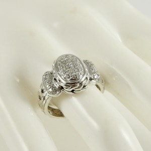John Hardy Sterling Silver 18K White Gold .50tcw Small Oval Pave Diamond Classic Chain Ring