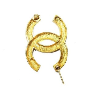 Chanel CC 18K Gold Plated & Rhinestone Pin/Brooch