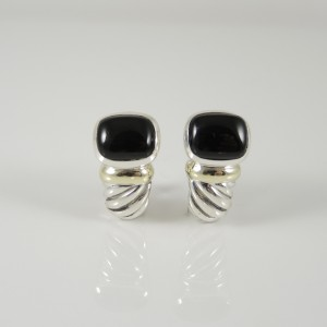 David Yurman Sterling Silver & 14K Yellow Gold Black Onyx Noblesse J-Hoop Earrings