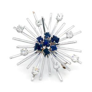 Estate Platinum Sapphire and Diamond Brooch