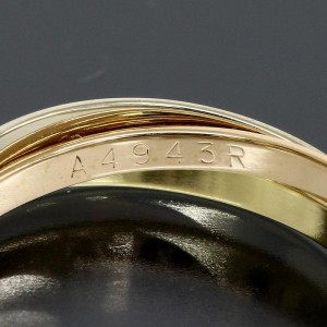 Cartier 18K Yellow White Pink Gold Ring Size 6.5