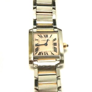Cartier Tank Francaise 18k Rose Gold & Steel Pink Mother-of-Pearl Ladies Watch