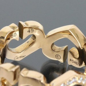Cartier 18K Rose Gold and Diamonds C Heart Ring Size 5.25