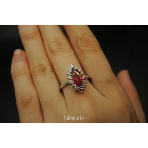 1.08ct Ruby & 0.42ct Diamond Engagement Ring Sz 6.75