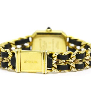 Chanel Premiere Size L Gold Plated Leather Strap Quartz Womens Watch