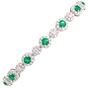 18k White Gold Diamond Round Emerald and Diamond Bracelet