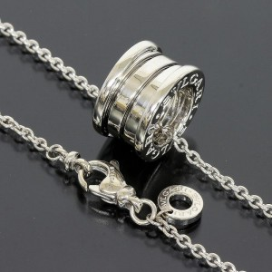 Bulgari 18K White Gold Round Pendant Necklace