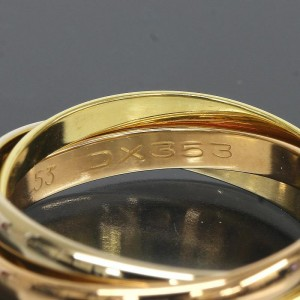 Cartier 18K Pink White And Yellow Gold Trinity Ring Size 6.75