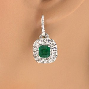 18k White Gold Emerald and Diamond Drop Earrings