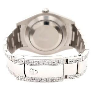 Rolex Datejust II 41mm Diamond Bezel/Lugs/Bracelet/Green MOP Roman Dial Steel Watch 116300