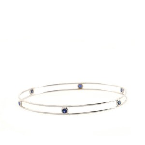 Tiffany & Co. Elsa Peretti By the Yard Bangle Bracelet 18K White Gold with Sapphires