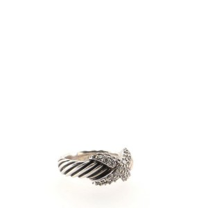 David Yurman Cable X Ring Sterling Silver and Diamonds